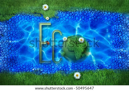 green map of the earth with daisies and ladybug - eco collection