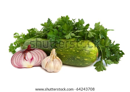 Green marrow, onion, parsley and garlic on white background
