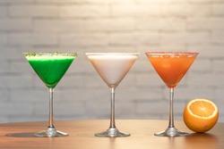 Green Martini, White Martini and Orange Martini Cocktails Indian Flag Color