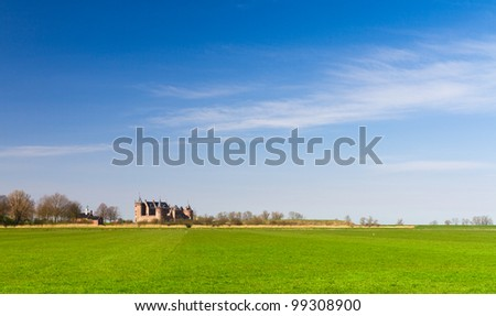 Green meadow, blue sky, castle on the horizon