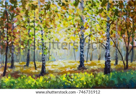 Green meadow grass in autumn forest. Autumn wood - Original oil painting white birch trees in autumn forest. Beautiful golden landscape. Modern impressionism orange autumn nature painting art
