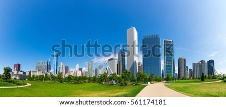 green meadow on cityscape...