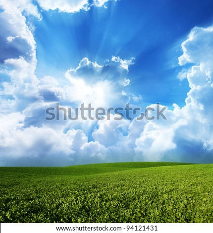 Green meadow under blue sky with clouds #94121431
