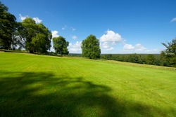 Green meadow with trees in Normandy, France.