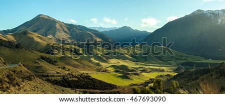 Green meadows in  Lake Sumner, New Zealand - Shutterstock ID 467693090