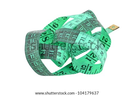 Green measuring tape, isolated on white background