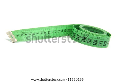 green measurment tape isolated on white background
