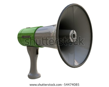 green megaphone isolated on white background