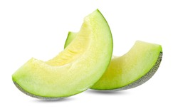Green melon isolated on white clipping path.