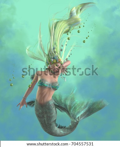 Green Mermaid 3d illustration - A mermaid is a mythical legendary creature composed of a beautiful woman with a fish tail. Сток-фото ©