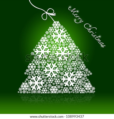 Green Merry Christmas Card With Christmas Tree Made From Snowflake