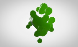 Green metaball in 3d. Small drops are separated from the liquid sphere and connected together on a white background. Liquid molecule decaying in 3d render.