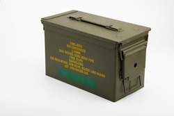 Green metal ammunition bullets box on white background