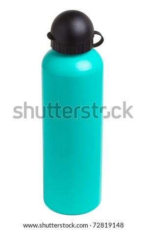 Green metal camping water bottle isolated on white.
