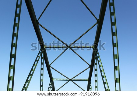 Green metal design of the automobile bridge Green metal design of the automobile bridge