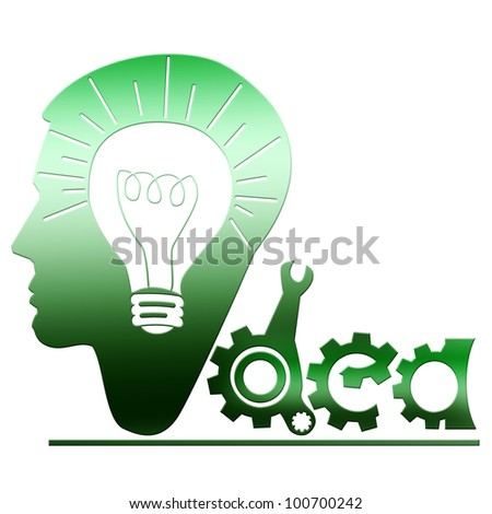 Green metal head with bulb inside idea concept isolated on white.