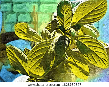 Green mint leaves on the balcony in a the style of oil painting Fauvism