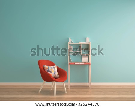 green mint wall on wood floor with working table & red armchair-interior