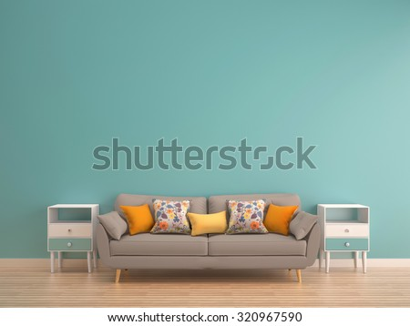 green mint wall with sofa & sideboard on wood floor-interior - Shutterstock ID 320967590
