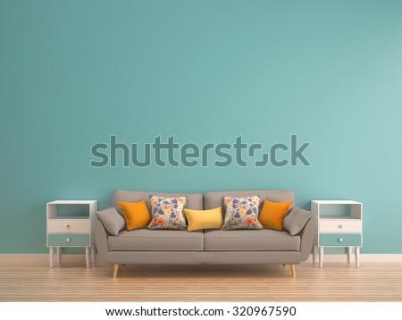 green mint wall with sofa & sideboard on wood floor-interior