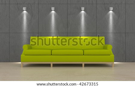 Green modern couch in interior room