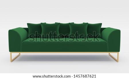 Green Modern Sofa - 3D Rendering #1457687621
