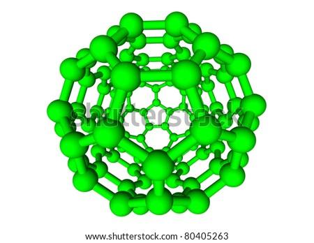 GREEN MOLECULAR SPHERE ON WHITE BACKGROUND