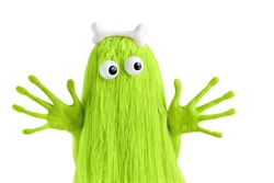 Green monster with big eyes