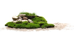 Green moss with decorative rocks and grass isolated on white background