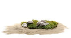 Green moss with sand and decorative stone, rock isolated on white background