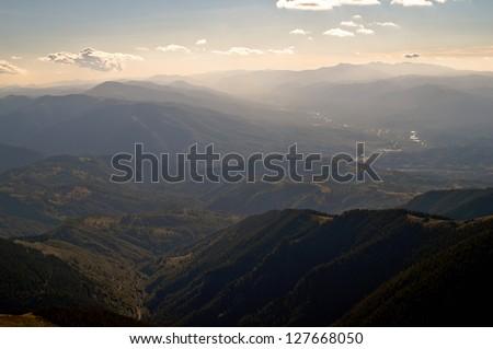 Green mountain valley. Horizon line. #127668050