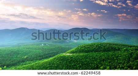 Green mountains hills. Composition of nature.