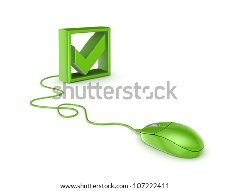 Green mouse and tick mark.Isolated on white background.3d rendered.