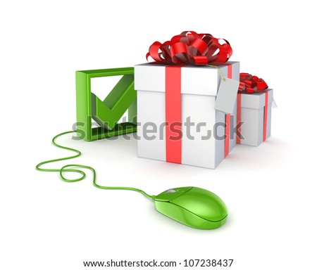 Green mouse, tick mark and gift boxes.Isolated on white background.3d rendered.