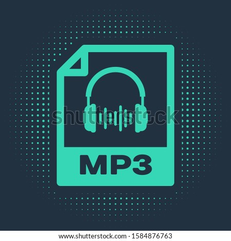 Green MP3 file document. Download mp3 button icon isolated on blue background. Mp3 music format sign. MP3 file symbol. Abstract circle random dots.  Stock photo ©