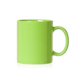 Green mug empty blank, isolated on white background