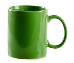 Green mug on isolated a white background.