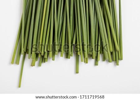 Green natural fibers backdrop, daffodil stems, cut flowers stalks Stockfoto ©
