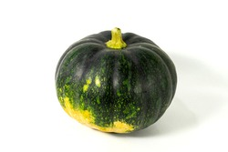 Green natural fresh Indian pumpkin is isolated on middle of white background, To create a vitamin-rich vegetable recipe, green fruits and vegetables for healthy life, Cultivated vegetables