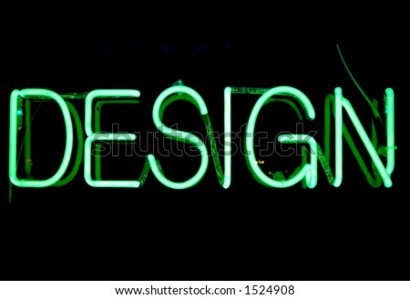 "Green neon sign with the word ""Design"""