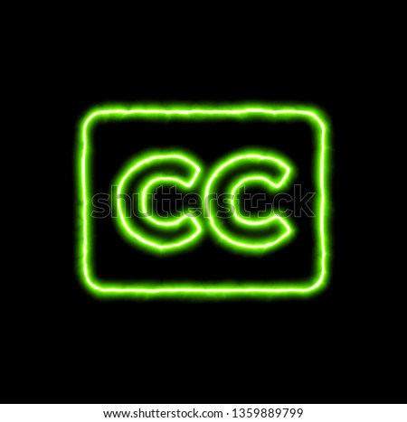 green neon symbol closed captioning