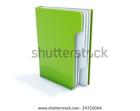Green notebook icon isolated on white