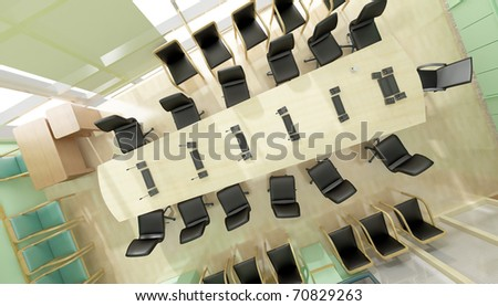Green office. top view - stock photo