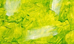 Green oil abstract background painting, green acrulic paint on a palette. Close up. Acrylic painting on canvas. Modern art, contemporary art.