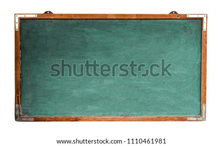 Green old grungy vintage wooden empty wide chalkboard or retro blackboard with weathered frame and isolated on seamless white background. Concept for education learning with empty space for text.