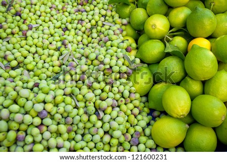 green olives and lemons in the Mediterranean market