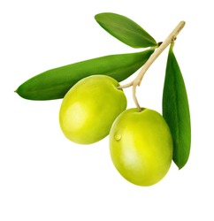 Green olives isolated on white background with clipping path.