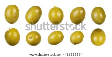 green olives isolated on white. collection