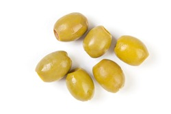 green olives on a white background. option photos for packaging. olives on a white background top view