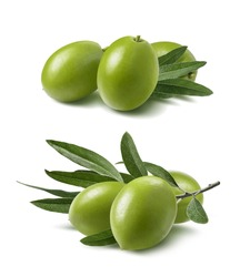 Green olives set isolated on white background as package design elements